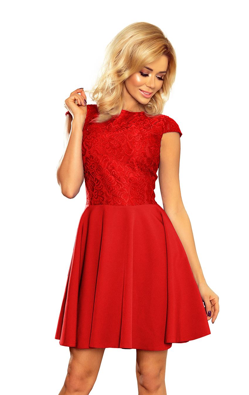 Dámské červené společenské šaty 157-8 a241e78de54