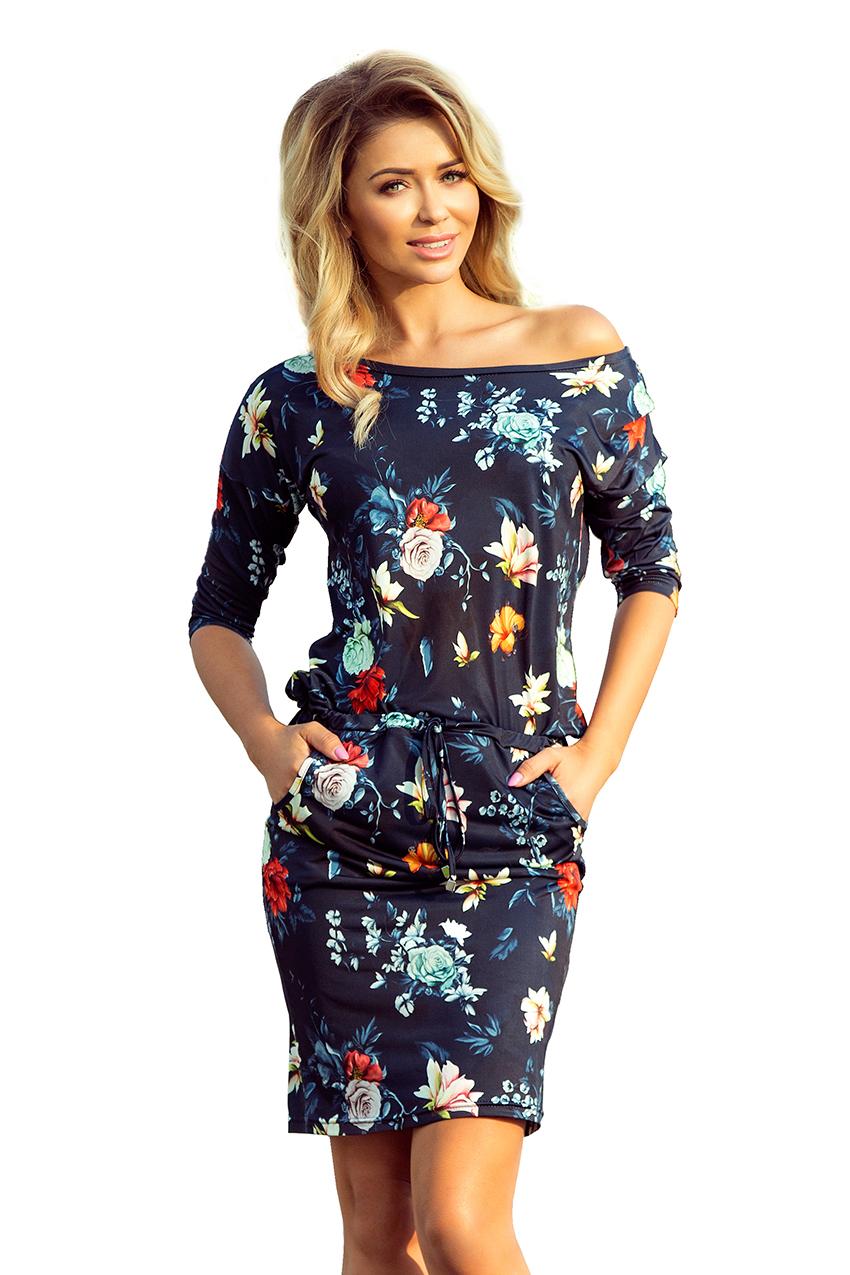 3c36e6cccb33 Dámské tmavě modré květinové šaty 13 91