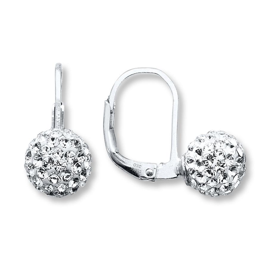 Stříbrné visací dámské náušnice Swarovski Ball Crystal 49031d014bd
