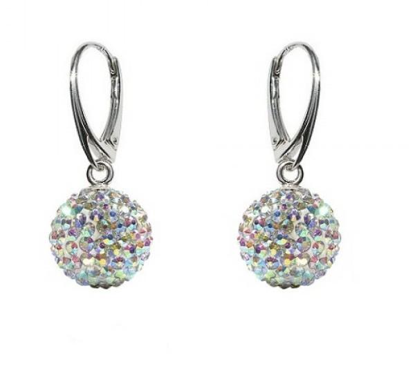 Luxusní stříbrné dámské náušnice Swarovski Ball AB cabb9be6e76