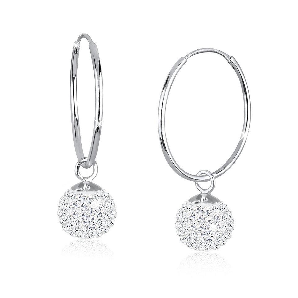 Luxusní stříbrné kruhy Swarovski Ball Crystal 12 mm f87d1787827