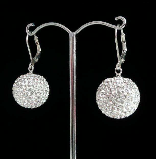 Stříbrné náušnice Swarovski kuličky Crystal 16 mm 1bf6b392520