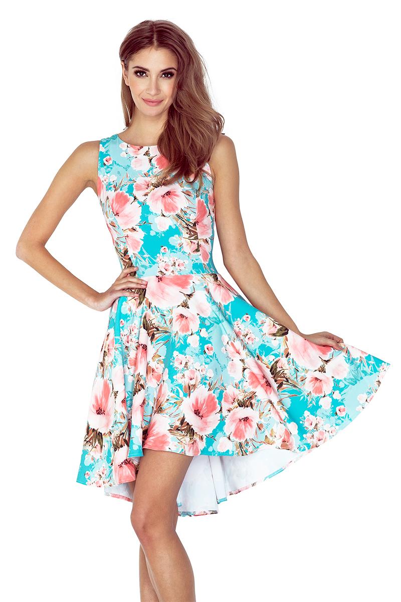 dd10cdeb7309 Dámské modré květinové šaty 148-1