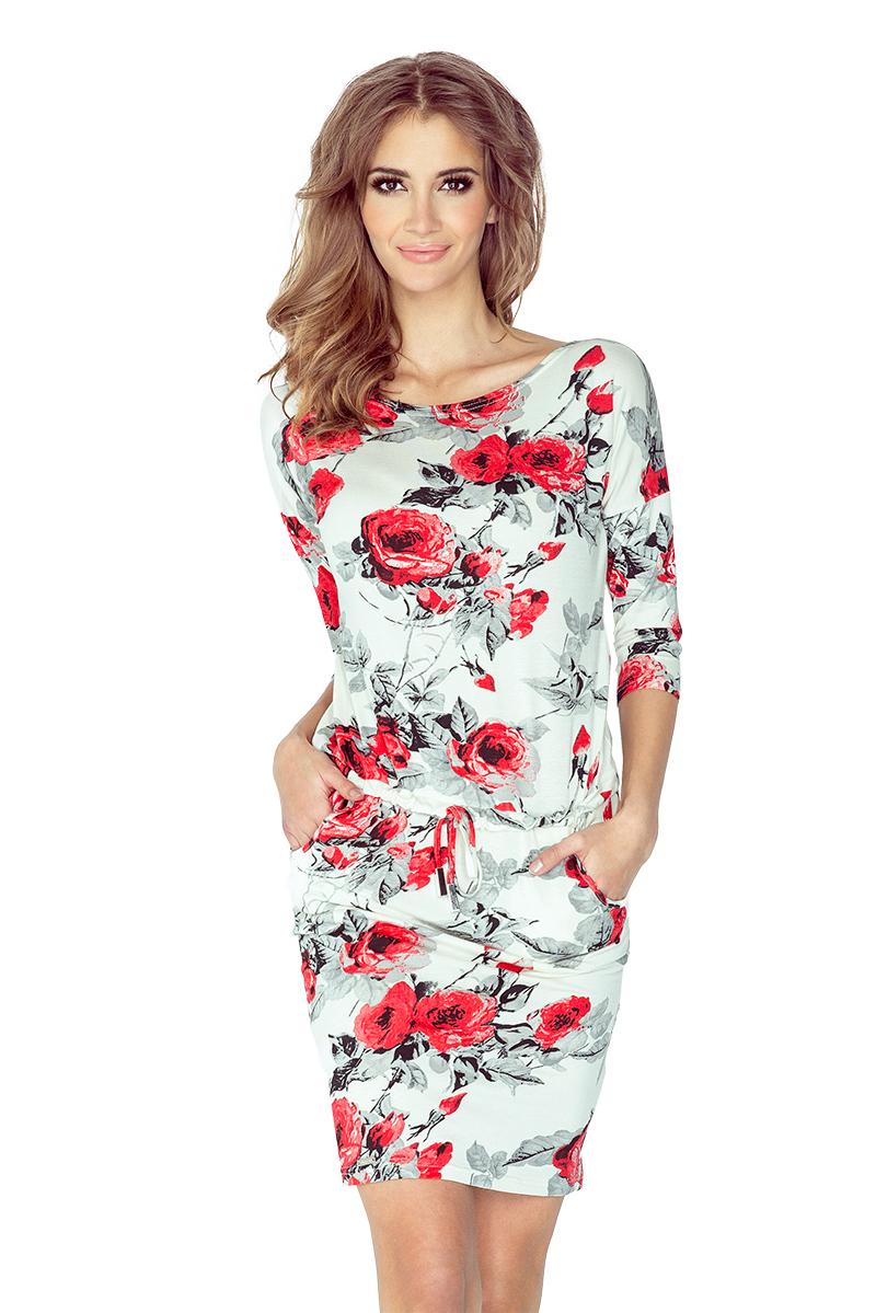 d4f16a75b4 Dámské červené květinové letní šaty 13-73