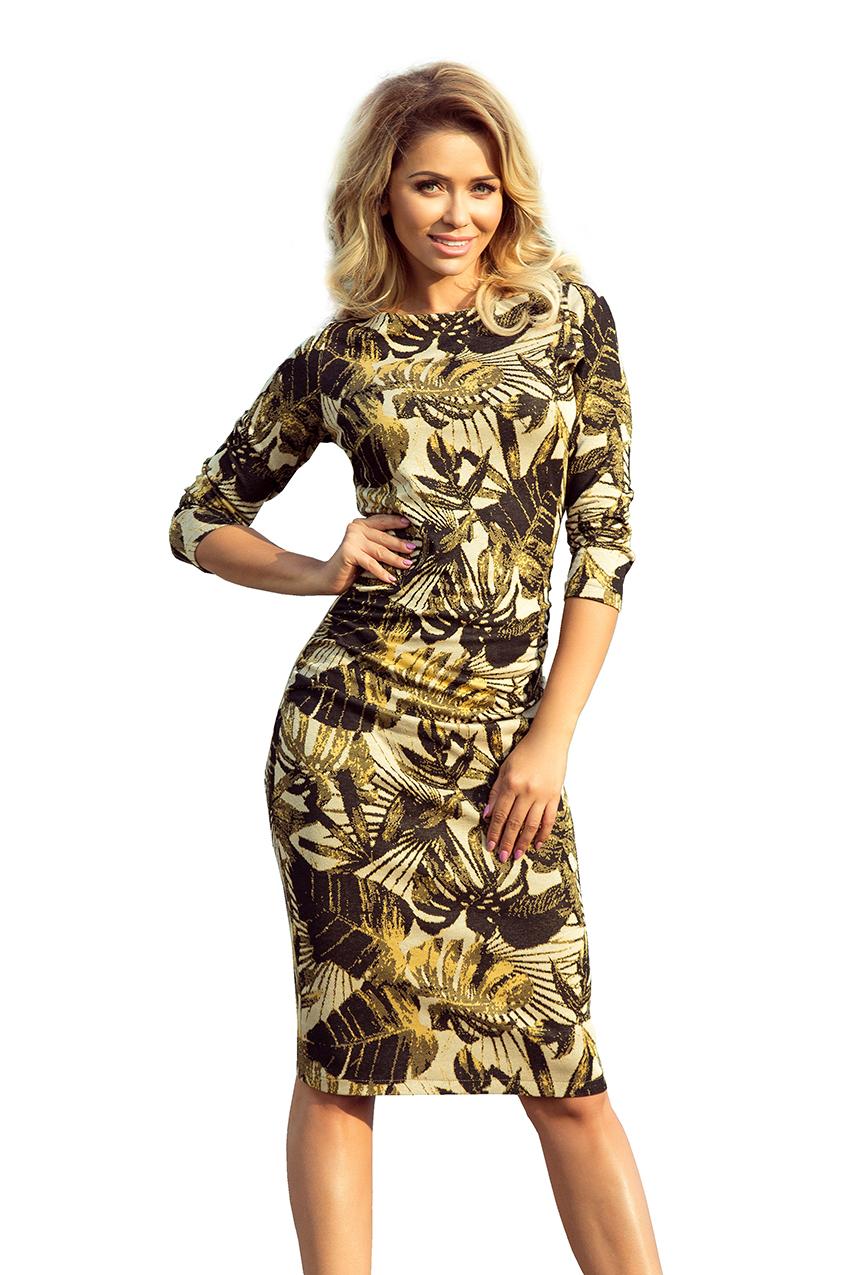 Dámské medové květinové šaty 59-8 1ca35ed259