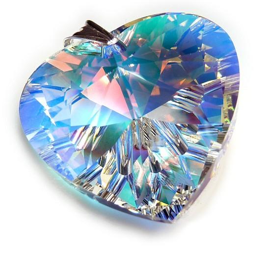 591ad8578 Velké stříbrné srdce s krystalem Swarovski AB efekt