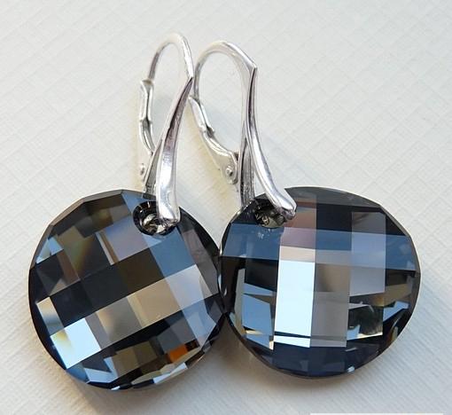 Stříbrné náušnice Swarovski Twist Silver Night c5785364721