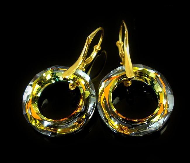 Pozlacené náušnice Swarovski Ring AB