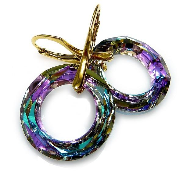 Pozlacené náušnice Swarovski Ring