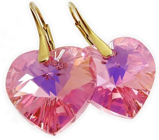 608c9abf0 Pozlacené stříbrné náušnice Swarovski růžové srdce