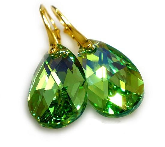 Pozlacené náušnice Swarovski Pear Peridot