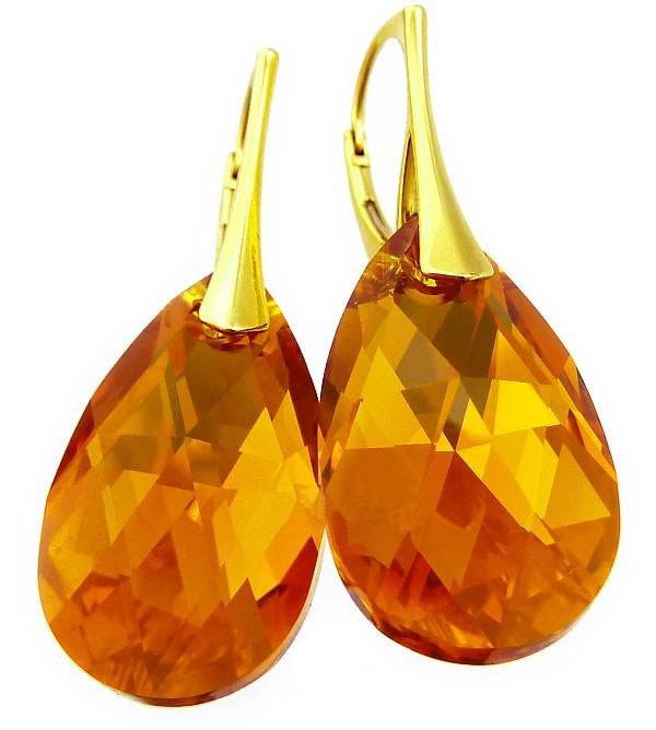Pozlacené náušnice Swarovski Pear