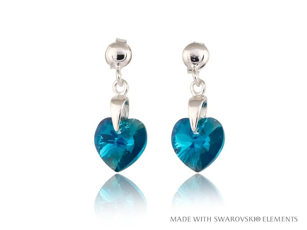 Modré visací stříbrné náušnice srdce Swarovski f564a0e843a