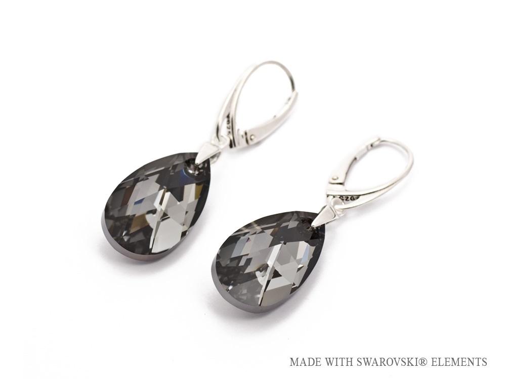 Luxusní stříbrné visací náušnice Swarovski Pear Silver Night c796fd7c855