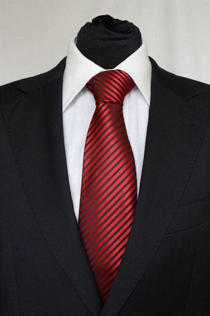 Pánská červená klasická kravata s černými pruhy - 8 cm 6e5e20dd46