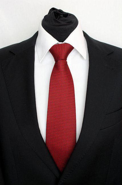Pánská červená klasická kravata s kolečkami - 8 cm 9701bf9a70