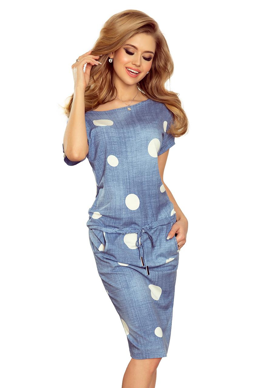 Dámské světle modré puntíkové šaty 203 2 empty 79a1f86269
