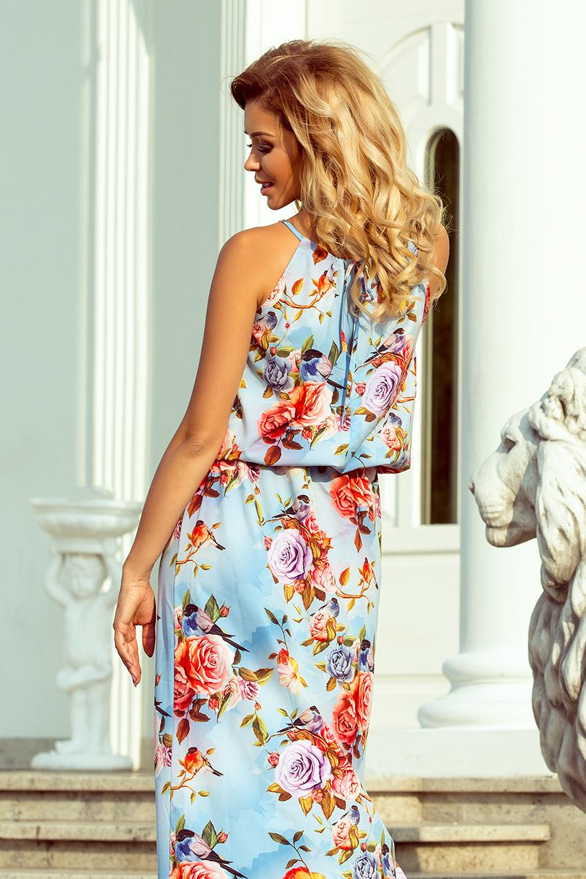 49e4a00781e4 Dámské modré květinové maxi šaty 191 5